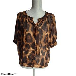 Saudra Augelazzi Silk Blouse Leopard Print Size M